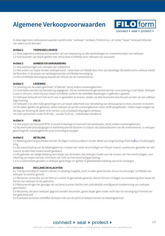Filoform Verkoopvoorwaarden